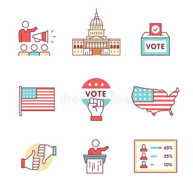 Val, aktion och röstningteckenuppsättning vektor illustrationer