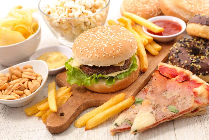 Val av amerikansk mat royaltyfri fotografi