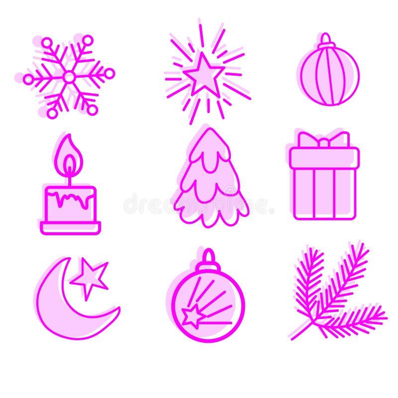 Val av det nya året och julsymboler, linjära symboler för affischer, baner och vykort, vektor royaltyfri illustrationer