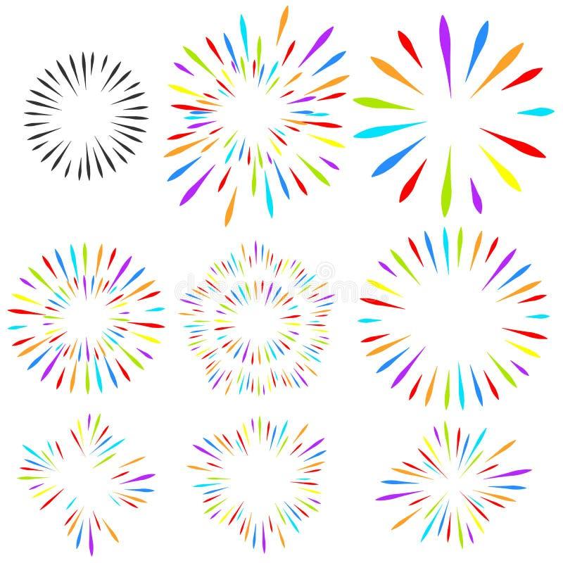 Val av fyrverkerier på vit isolerad bakgrund Vektorferiebeståndsdelar för design stock illustrationer