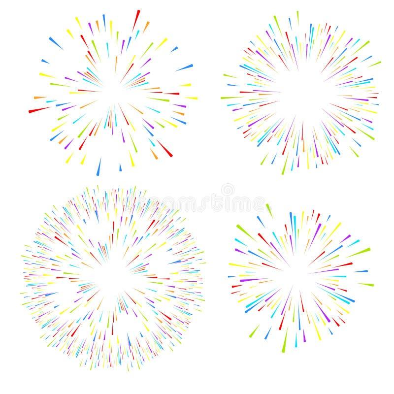 Val av fyrverkerier på vit isolerad bakgrund Vektorferiebeståndsdelar för design royaltyfri illustrationer