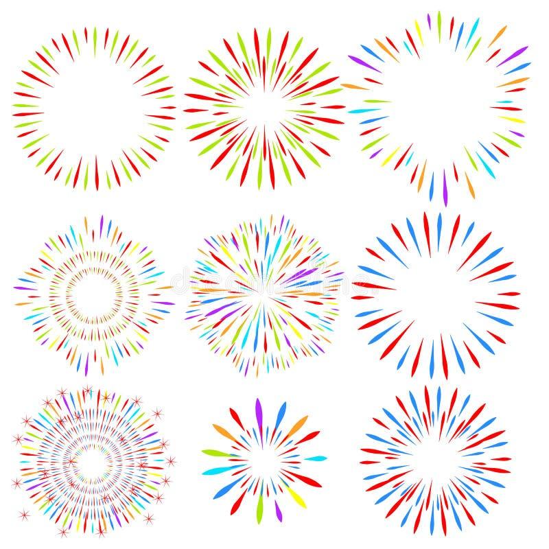 Val av fyrverkerier på vit isolerad bakgrund Vektorferiebeståndsdelar för design vektor illustrationer