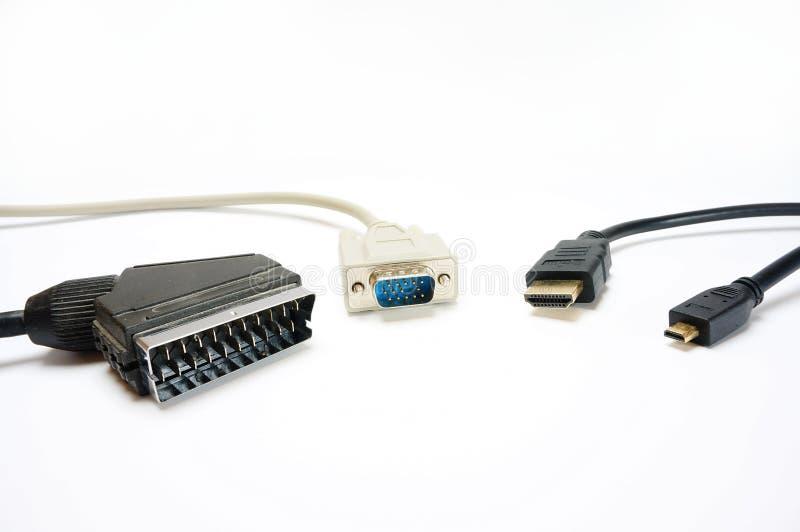 Val av gemensamma videopp kablar och kontaktdon royaltyfria foton