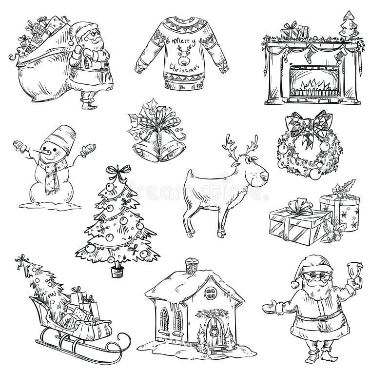 Val av julsymboler vektor illustrationer