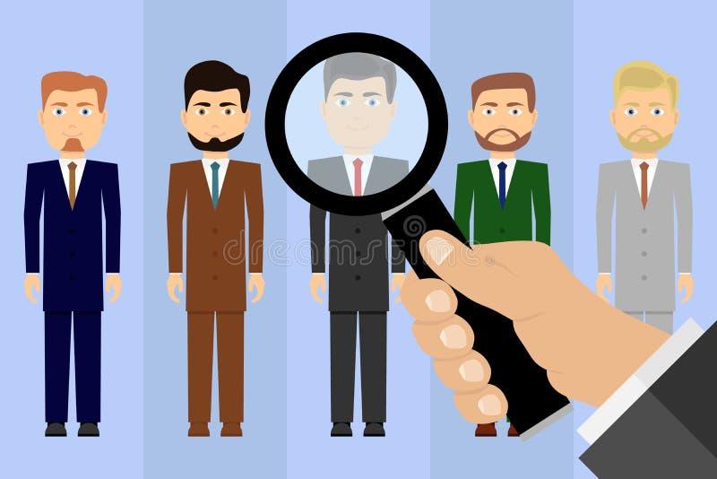 Val av kandidater för arbete Jobbsökare En hand med ett förstoringsglas ser kandidaterna royaltyfri illustrationer