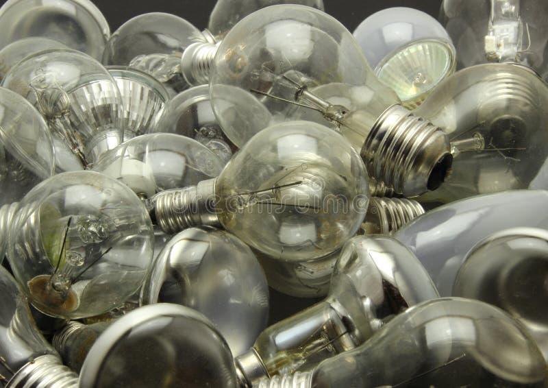 Val av olika använda lightbulbs arkivfoton