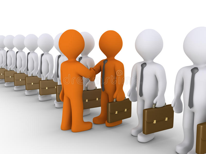 Val av samarbete mellan två affärsmän stock illustrationer