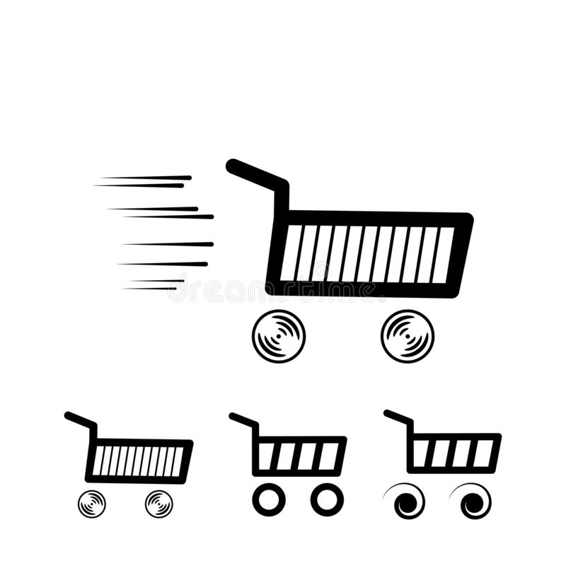 Val av shoppingvagnen Vektordesignbeståndsdelar på isolerad vit bakgrund stock illustrationer