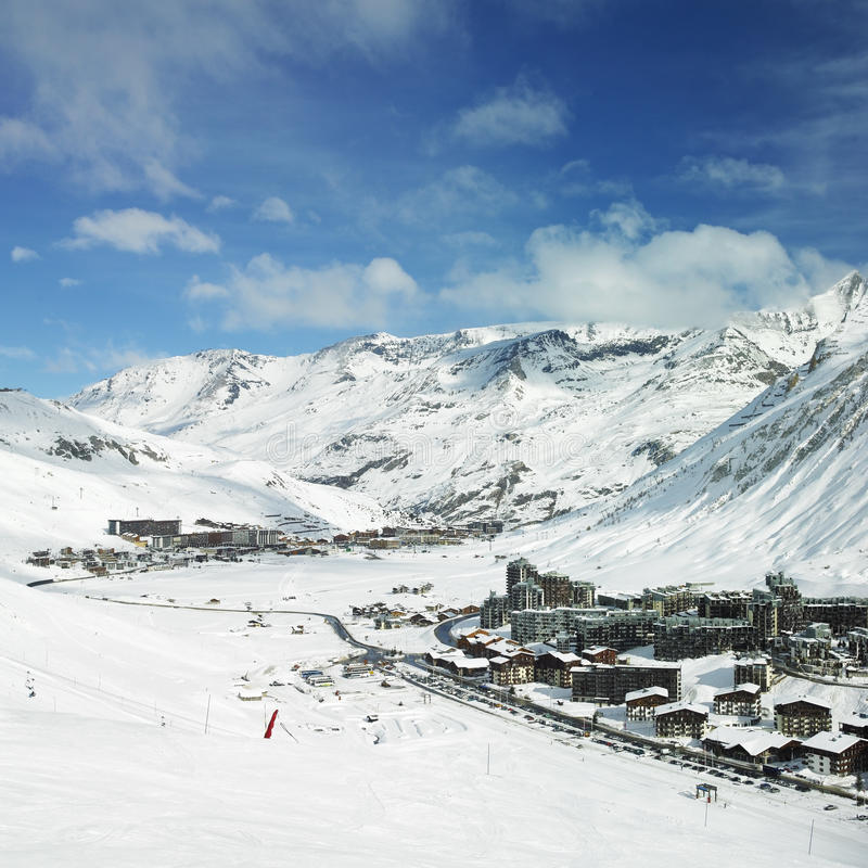 Val Claret, France. Val Claret Tignes in Alps Mountains, Savoie, France stock photography