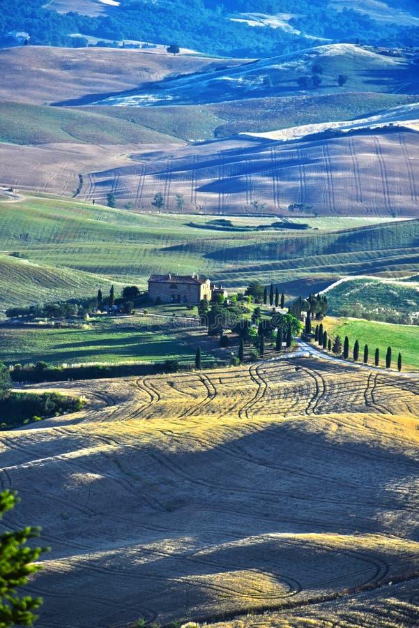 Val d& x27风景视图; Orcia,托斯卡纳,意大利 库存照片