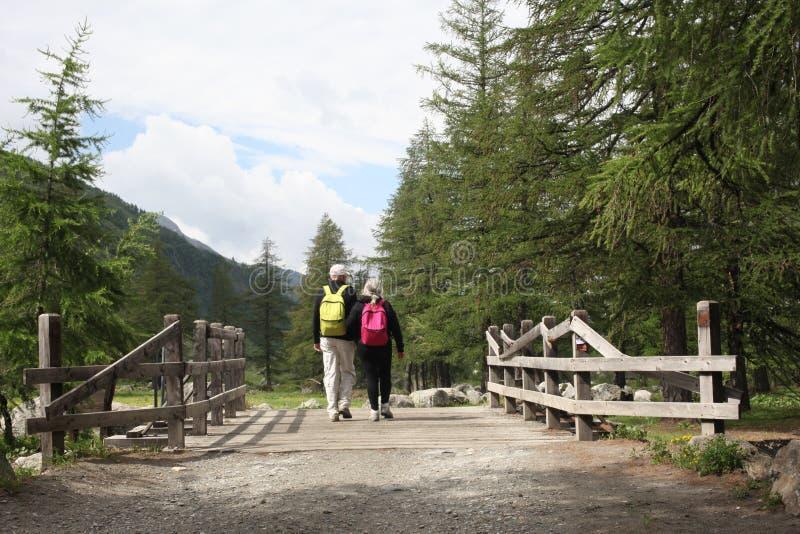 Val D ` Aosta, Italië, 4 Juli 2018: paar van bejaarde mensenmening van achter het lopen op een houten brug op de berg royalty-vrije stock afbeelding