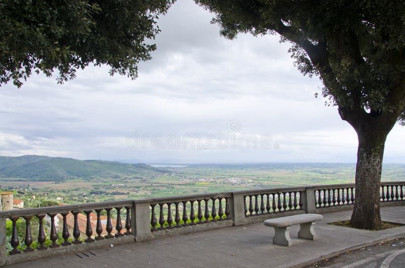 Val d`Chiana From Piazza Garibaldi in Cortona, Italy royalty free stock image