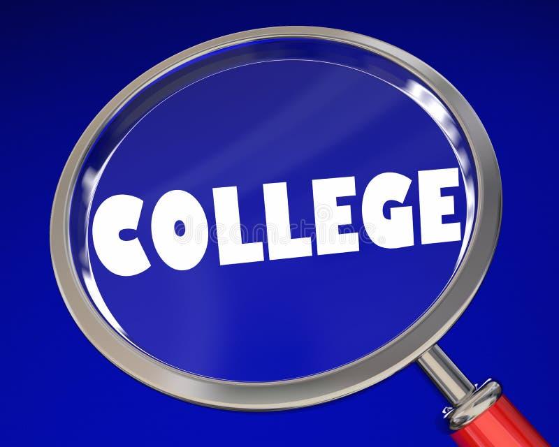Val 3d I för forskning för skola för högskolaförstoringsglasuniversitet vektor illustrationer