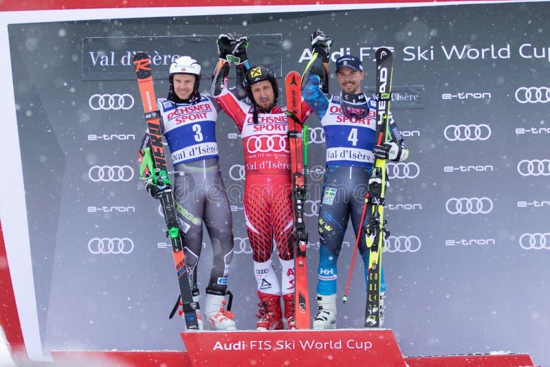 Val D'Isere mäns jätte- slalom 2018 royaltyfria foton