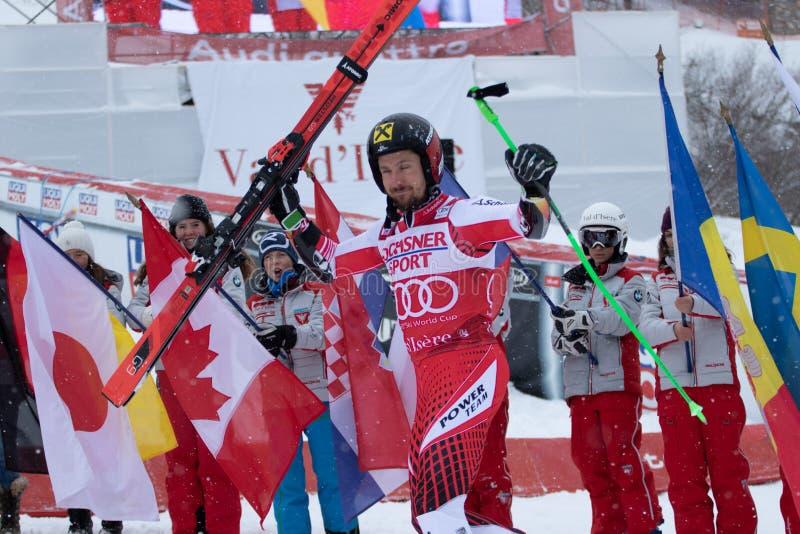 Val D'Isere mäns jätte- slalom 2018 royaltyfria bilder