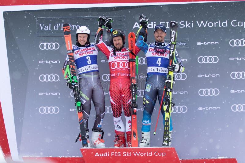 Val D'Isere mäns jätte- slalom 2018 arkivfoto