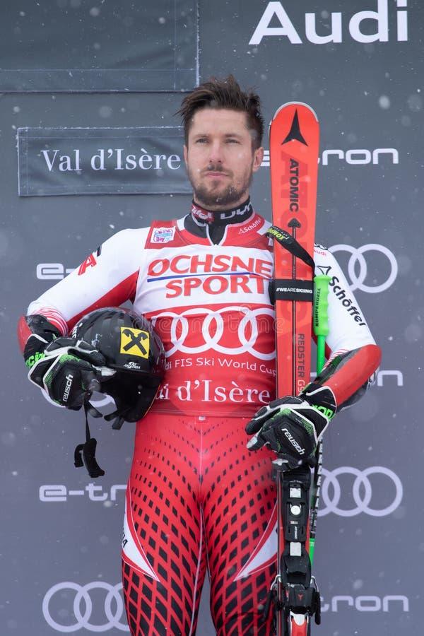 Val D'Isere mäns jätte- slalom 2018 royaltyfri foto