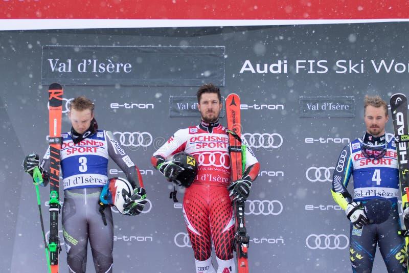 Val D'Isere mäns jätte- slalom 2018 royaltyfri bild