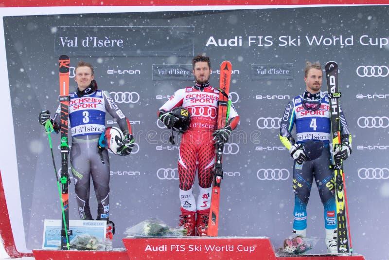 Val D'Isere mäns jätte- slalom 2018 arkivfoton