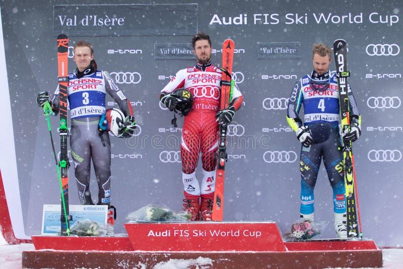 Val D'Isere mäns jätte- slalom 2018 arkivbilder