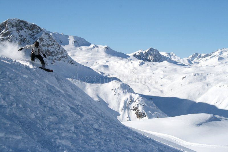 Val D'Isere snowboarding stock photography