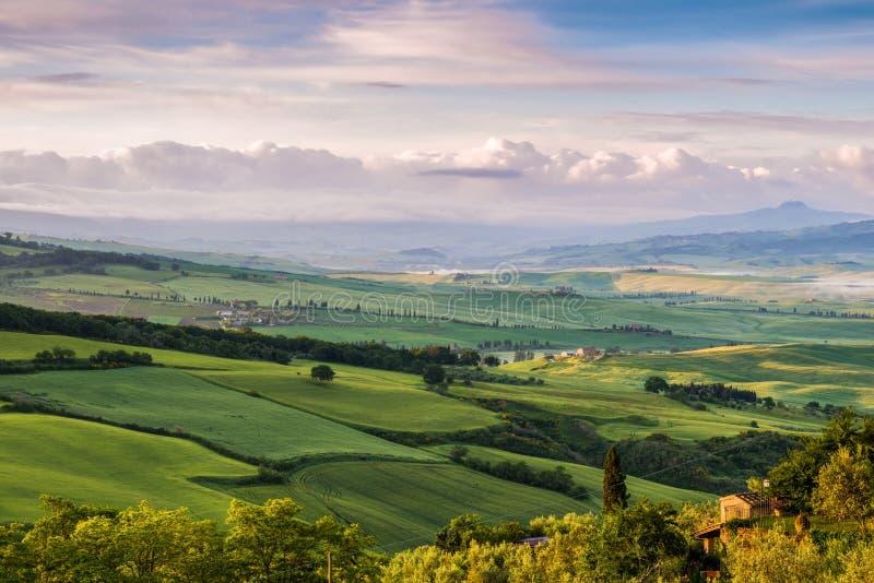 VAL D'ORCIA, TUSCANY/ITALY - 21 MAGGIO: Terreno coltivabile in d'Orcia Tu di Val fotografia stock libera da diritti