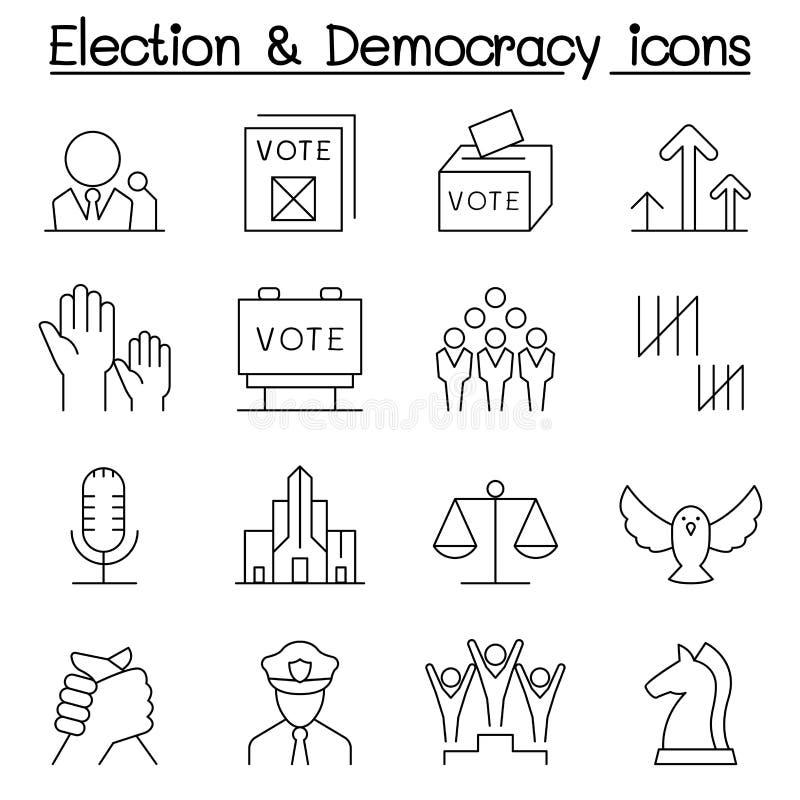 Val- & demokratisymbolsuppsättning i den tunna linjen stil stock illustrationer