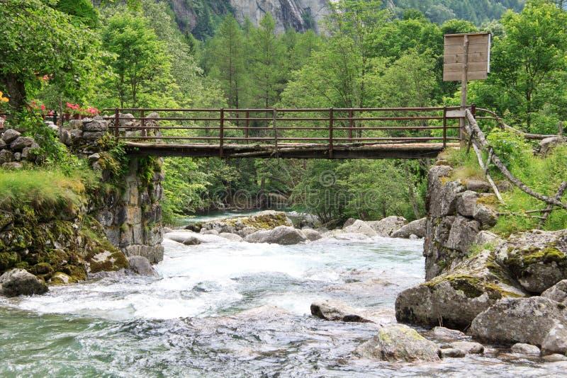 Val di Mello. Bridge over the river - val di Mello (Valtellina, Lombardy royalty free stock image