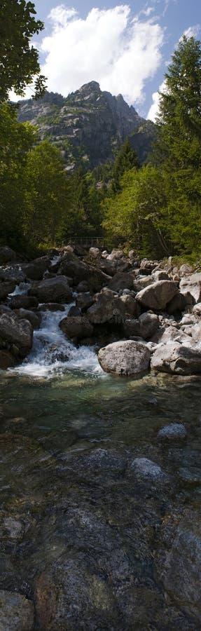 Val di Mello, Val Masino, Valtellina, Sondrio, Italy, Europe. Italy, 03/08/2017: creek and rocks of the Mello Valley, Val di Mello, a green valley surrounded by stock photography