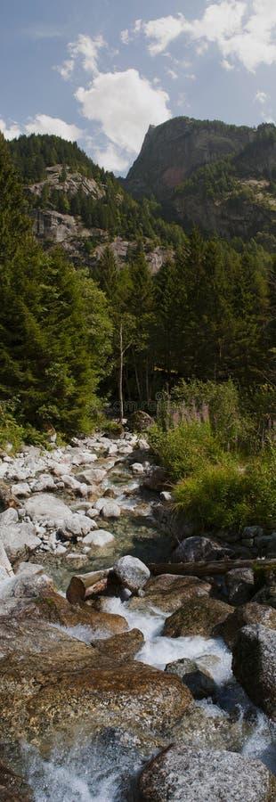 Val di Mello, Val Masino, Valtellina, Sondrio, Italy, Europe. Italy, 03/08/2017: creek and rocks of the Mello Valley, Val di Mello, a green valley surrounded by royalty free stock photos
