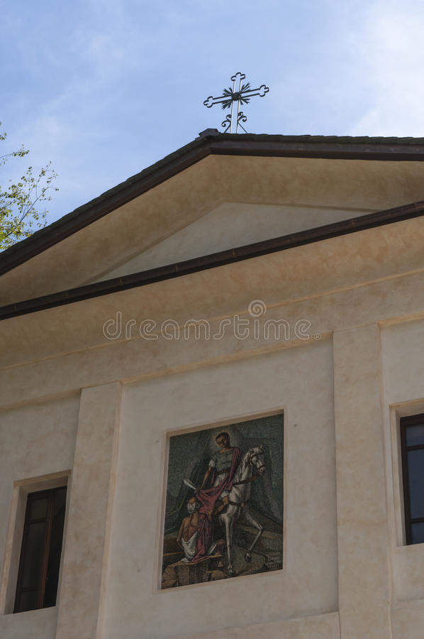 Val di Mello, Val Masino, Valtellina, Sondrio, Italy, Europe. Italy, 03/08/2017: details of the parish church of San Martino, Saint Martin, the village starting royalty free stock photos