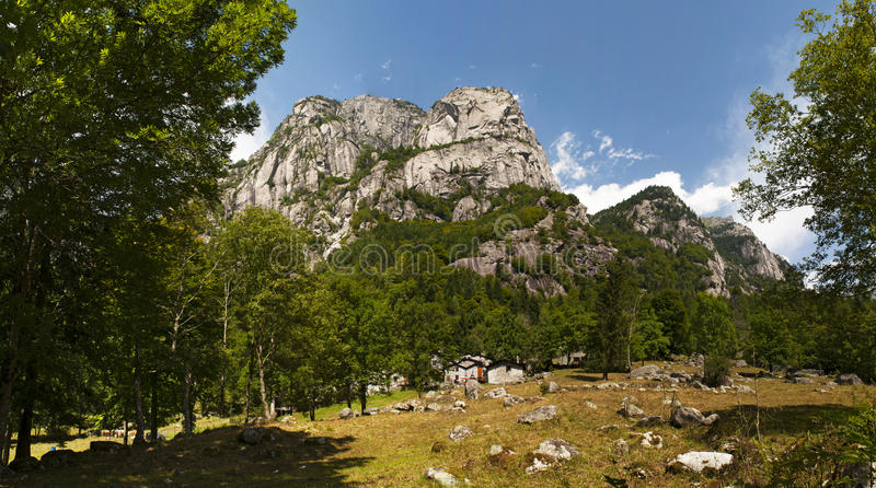 Val di Mello, Val Masino, Valtellina, Sondrio, Italy, Europe. Italy, 03/08/2017: panoramic view of the Mello Valley, Val di Mello, a green valley surrounded by stock images