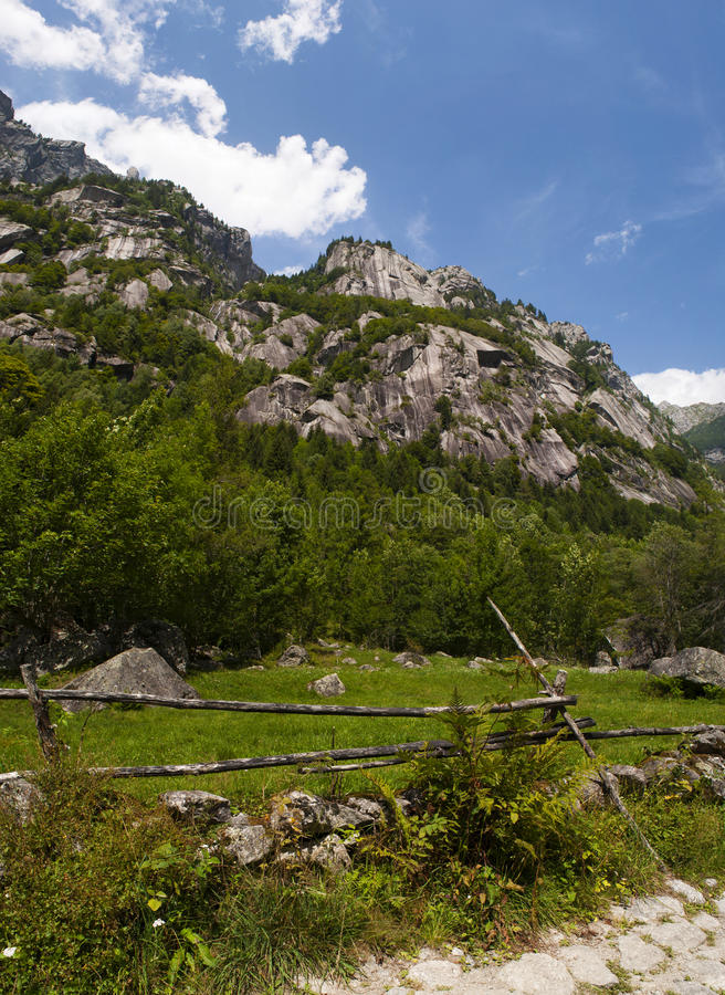 Val di Mello, Val Masino, Valtellina, Sondrio, Italy, Europe. Italy, 03/08/2017: panoramic view of the Mello Valley, Val di Mello, a green valley surrounded by stock image