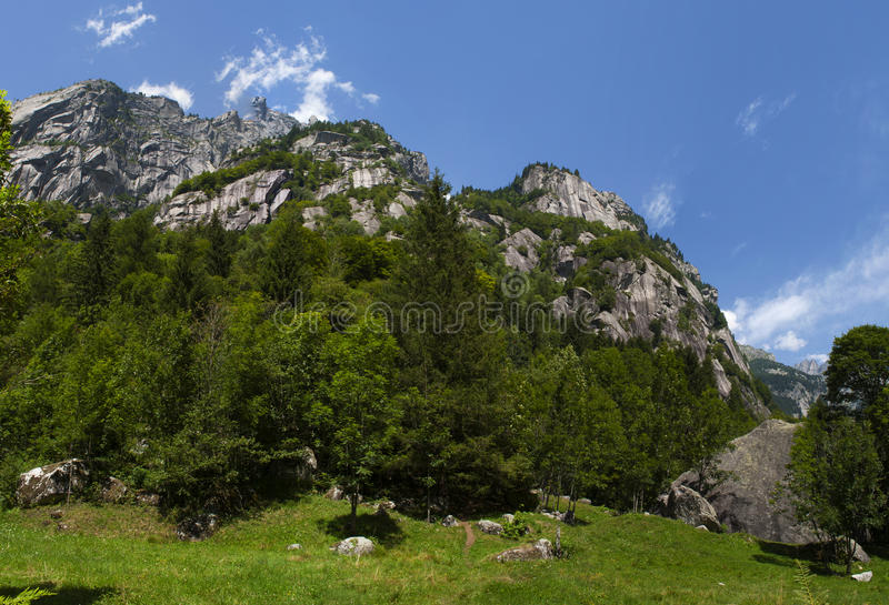 Val di Mello, Val Masino, Valtellina, Sondrio, Italy, Europe. Italy, 03/08/2017: panoramic view of the Mello Valley, Val di Mello, a green valley surrounded by stock photo