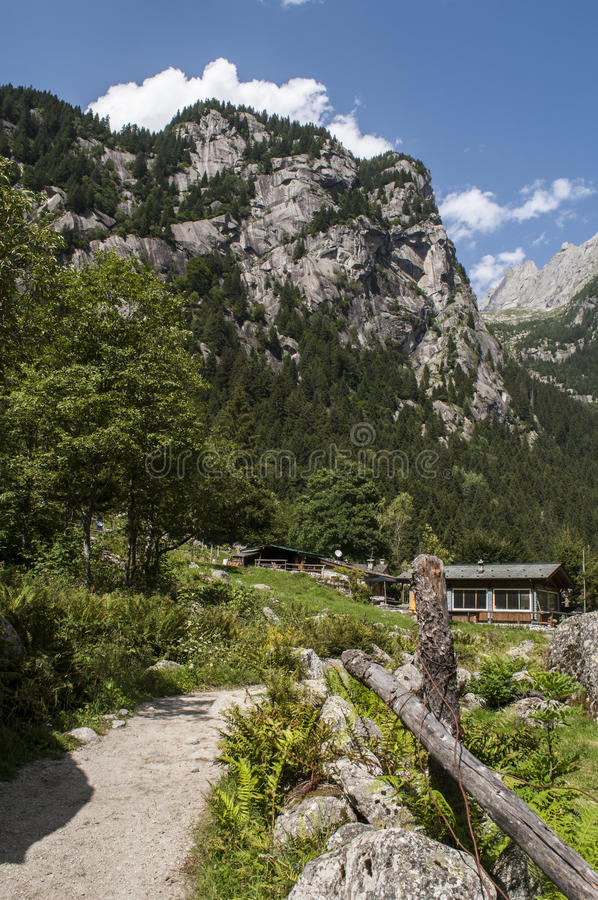 Val di Mello, Val Masino, Valtellina, Sondrio, Italy, Europe. Italy, 03/08/2017: panoramic view of the Mello Valley, Val di Mello, a green valley surrounded by royalty free stock images