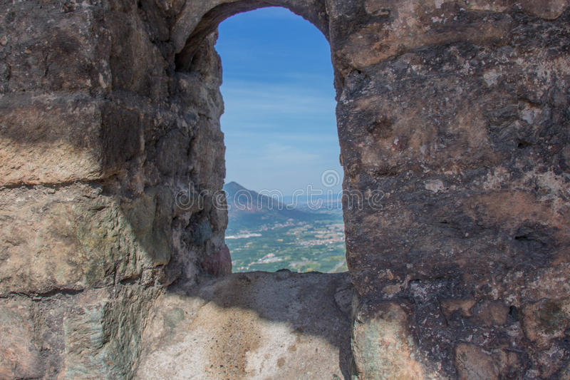 Val di Susa from San Sepolcro ruins window. Piedmont. Italy. stock photos