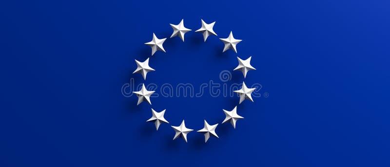 Val för europeisk union EU-flagga med en vit stjärnacirkel på blå bakgrund illustration 3d vektor illustrationer