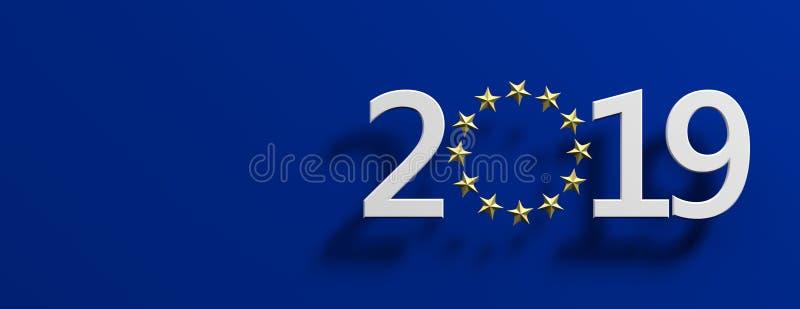 Val för europeisk union Vitt nummer 2019 med en guld- stjärnacirkel på blå bakgrund illustration 3d royaltyfri illustrationer
