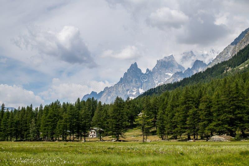 Val Ferret cerca paisaje del macizo de Courmayeur y de Mont Blanc imagenes de archivo