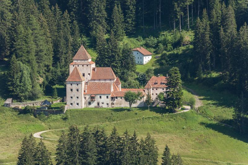 VAL GARDENA, ITALY - JULY 19, 2017: Castel Gardena is the main castle of the valley, located on the little town of Santa Cristina stock images
