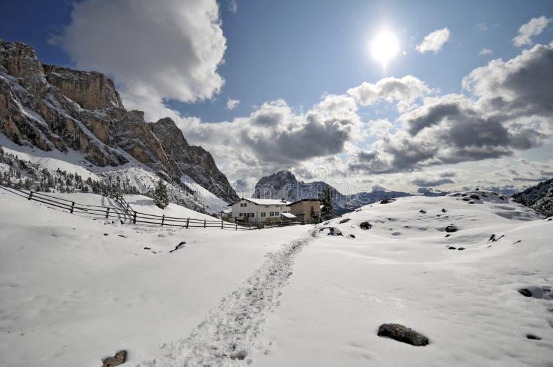 Val- Gardenatal, Italien lizenzfreies stockbild
