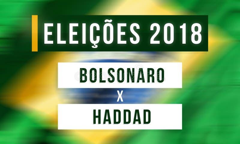 Val i Brasilien mellan Jair Bolsonaro och Fernando Haddad royaltyfri illustrationer