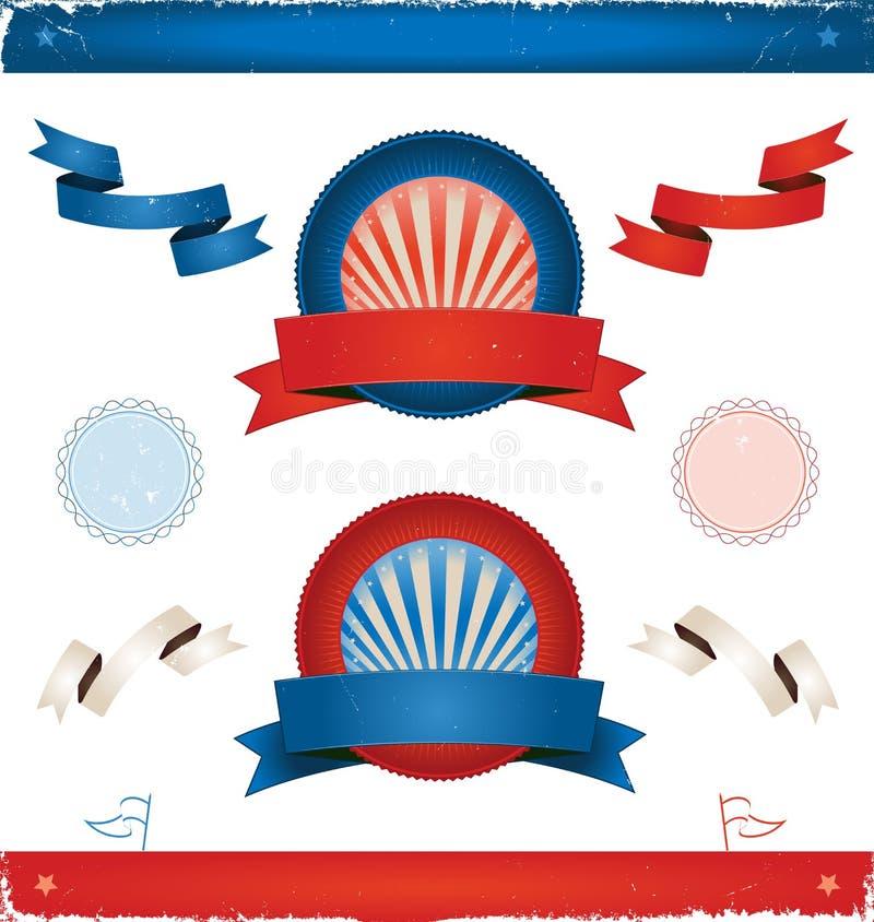 Val i USA - band och baner stock illustrationer