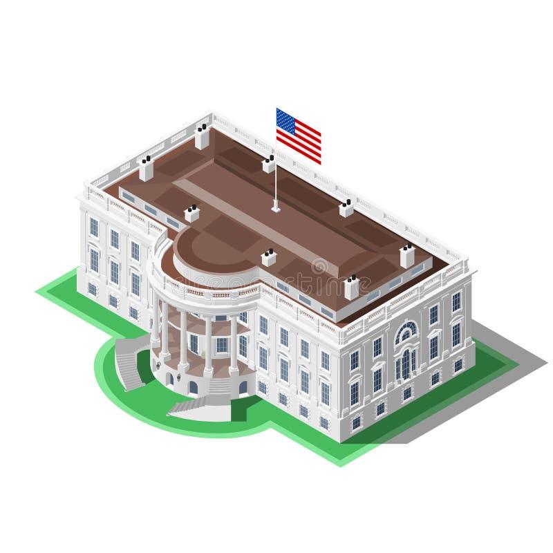 Val Infographic oss isometrisk byggnad för Vita Husetvektor royaltyfri illustrationer