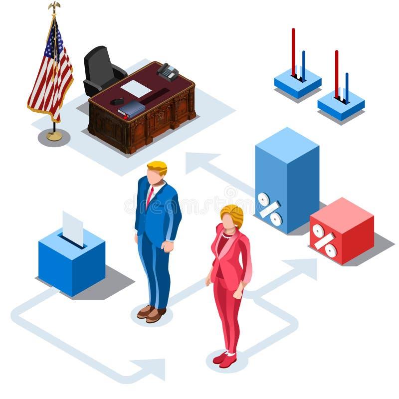 Val Infographic oss isometriskt folk för presidentvektor vektor illustrationer