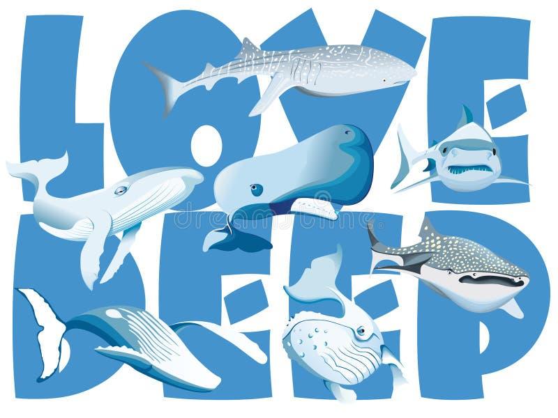Val och haj i havet royaltyfri illustrationer
