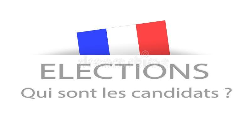 Val och kandidat i franskt med en del dold fransk flagga vektor illustrationer