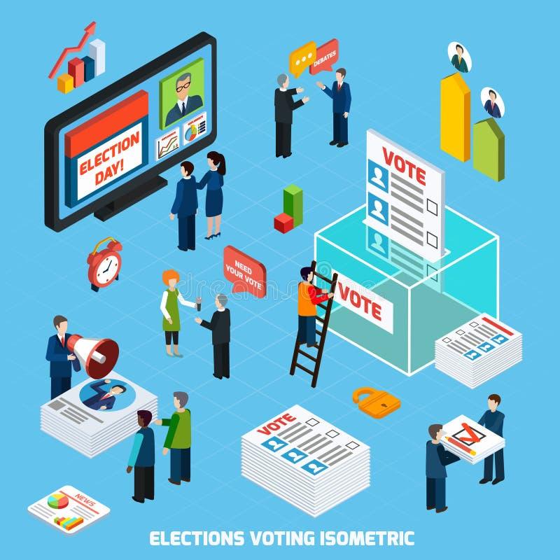 Val och rösta isometrisk sammansättning vektor illustrationer