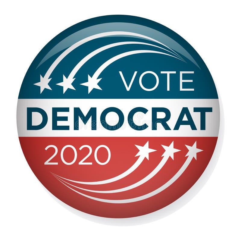 Val Pin Button för 2020 aktion eller emblem med patriotiska stjärnor stock illustrationer