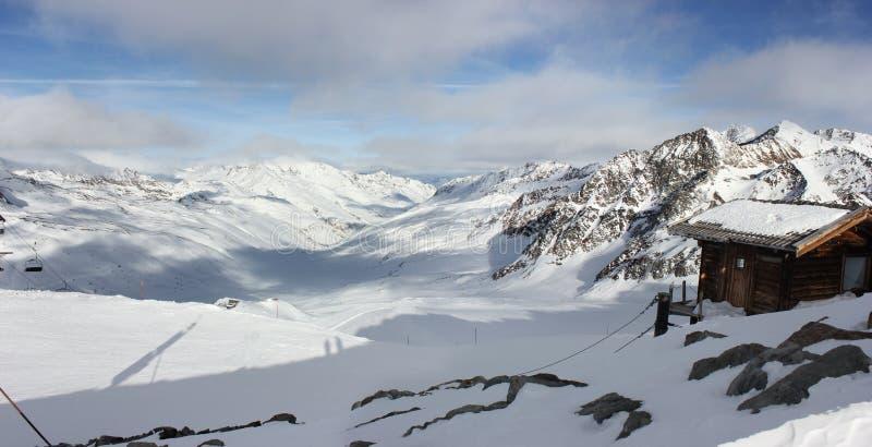 Val Senales zima w Włochy zdjęcia stock